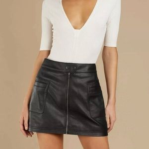 Free People High A-line Faux Leather mini skirt